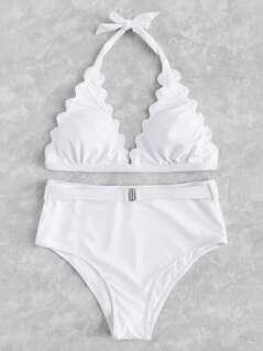 Scallop Edge Triangle Bikini Set