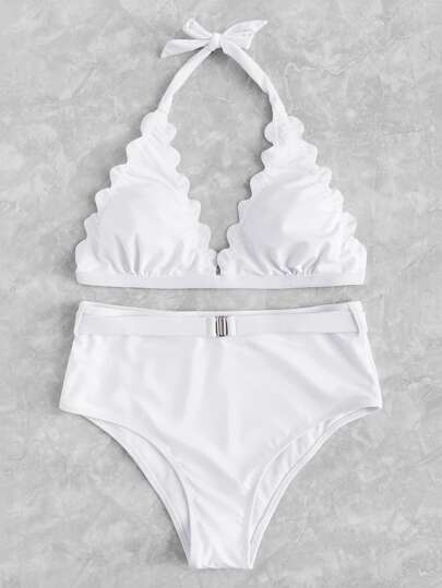 Scallop Edge Triangle Bikini Set