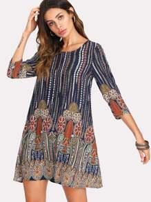 Mixed Print Dress