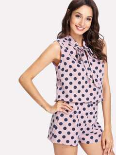 Polka Dot Tie Neck Top And Zip Up Shorts Set