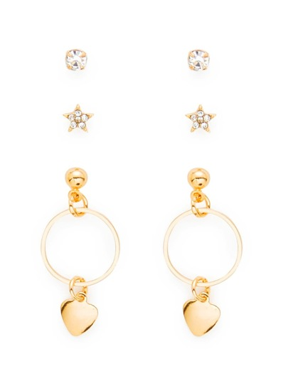 Heart & Star Design Earring Set