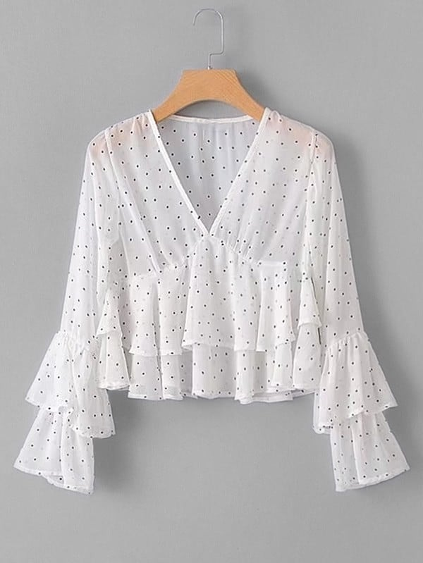 Tiered Flounce Polka Dot Blouse tiered flounce polka dot blouse