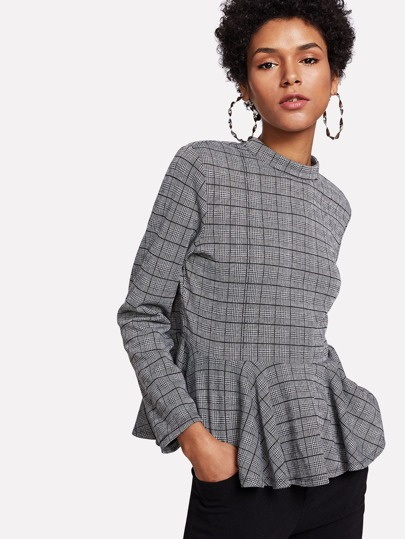 Top peplo di Houndstooth