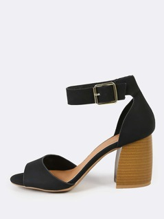 Ankle Strap Low Block Stacked Heels BLACK