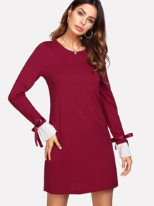 Contrast Pleated Tied Cuff Dress