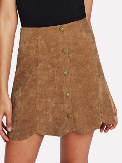 Button Up Scalloped Hem Skirt