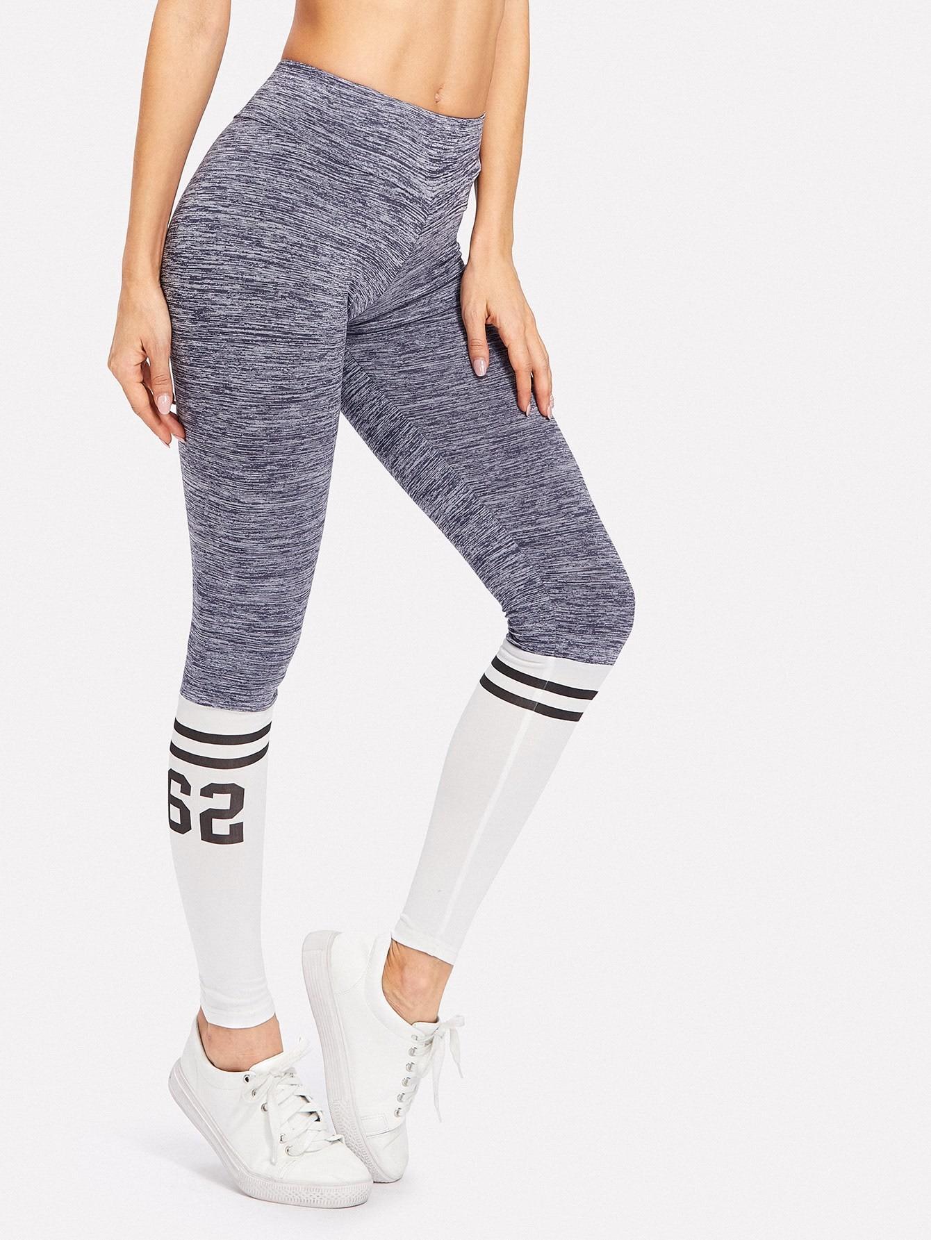 Varsity Print Space Dye Leggings slogan print space dye pajama set
