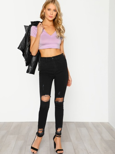 V Neck Crop T-shirt