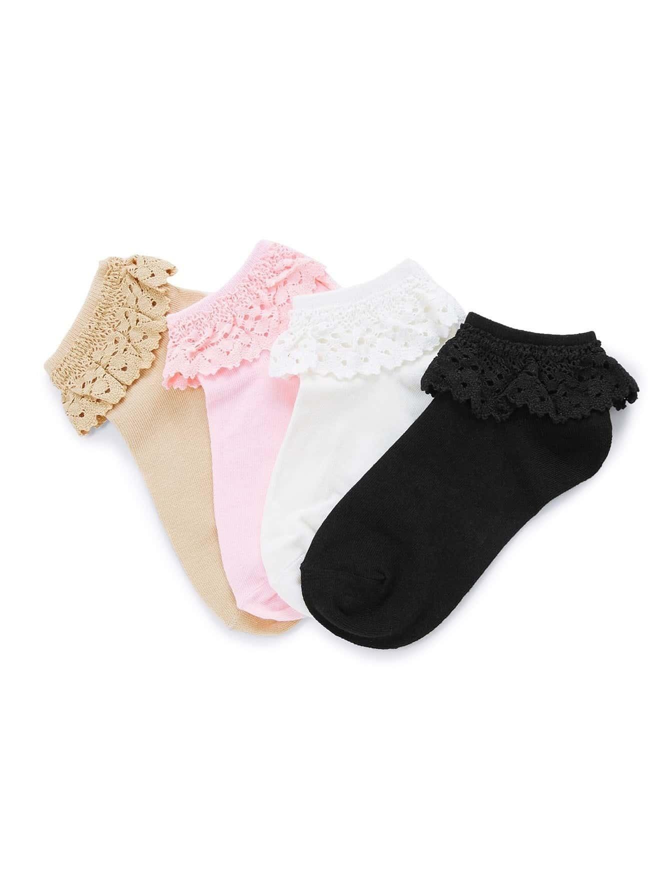 Ruffle Trim Ankle Socks 4pairs
