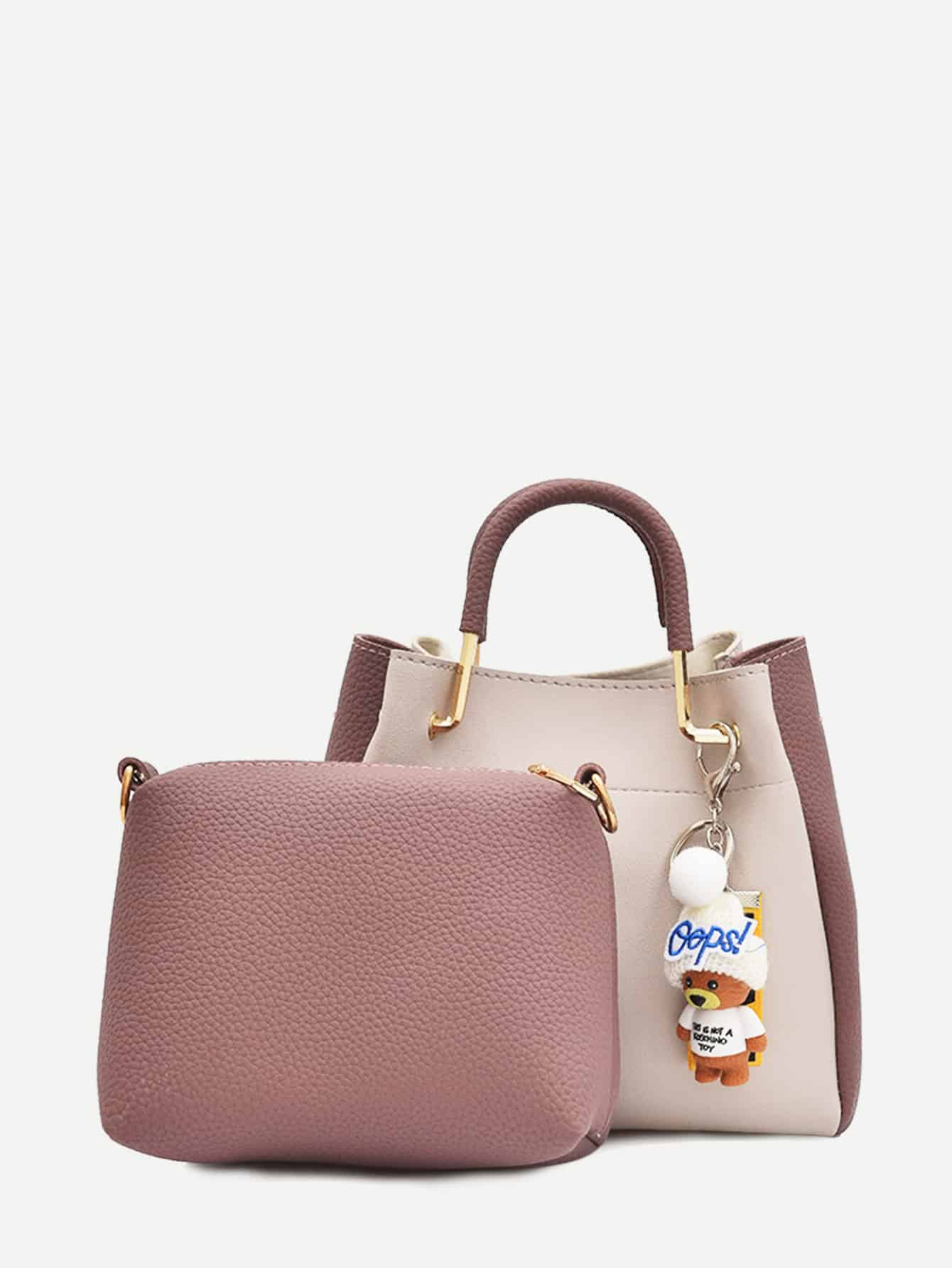 PU Two Tone Handbag With Clutch two tone drop shoulder sweatshirt