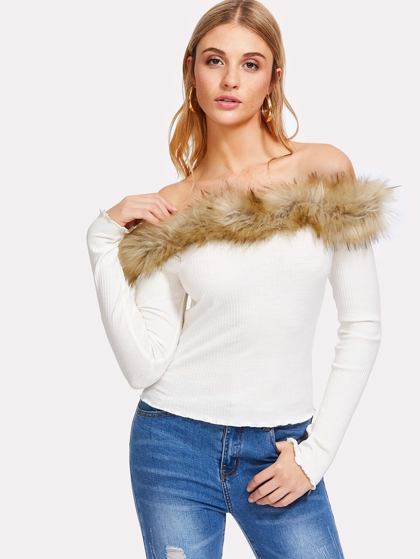 Faux Fur Trim Ribbed Bardot Tee pearl beading faux fur pocket ribbed dress