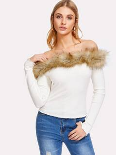 Faux Fur Trim Ribbed Bardot Tee