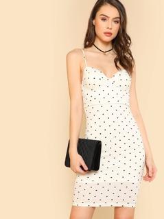 Polka Dot Sphagetti Strap Dress WHITE