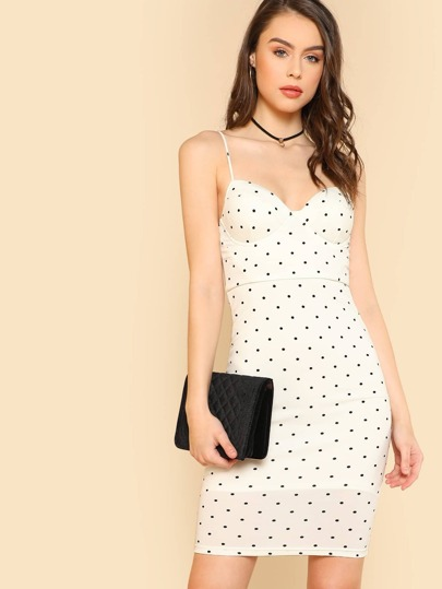Polka Dot Sphagetti Strap Dress WHITE
