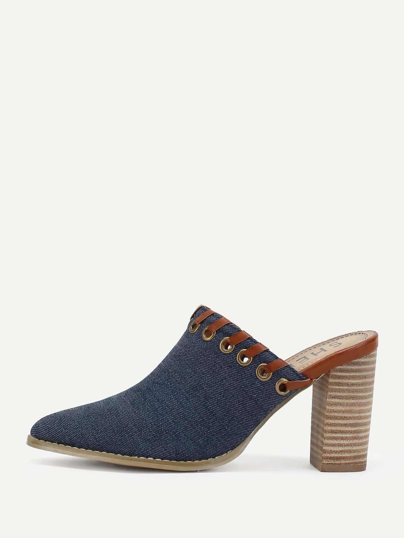 Grommet Trim Design Block Heeled Denim Pumps