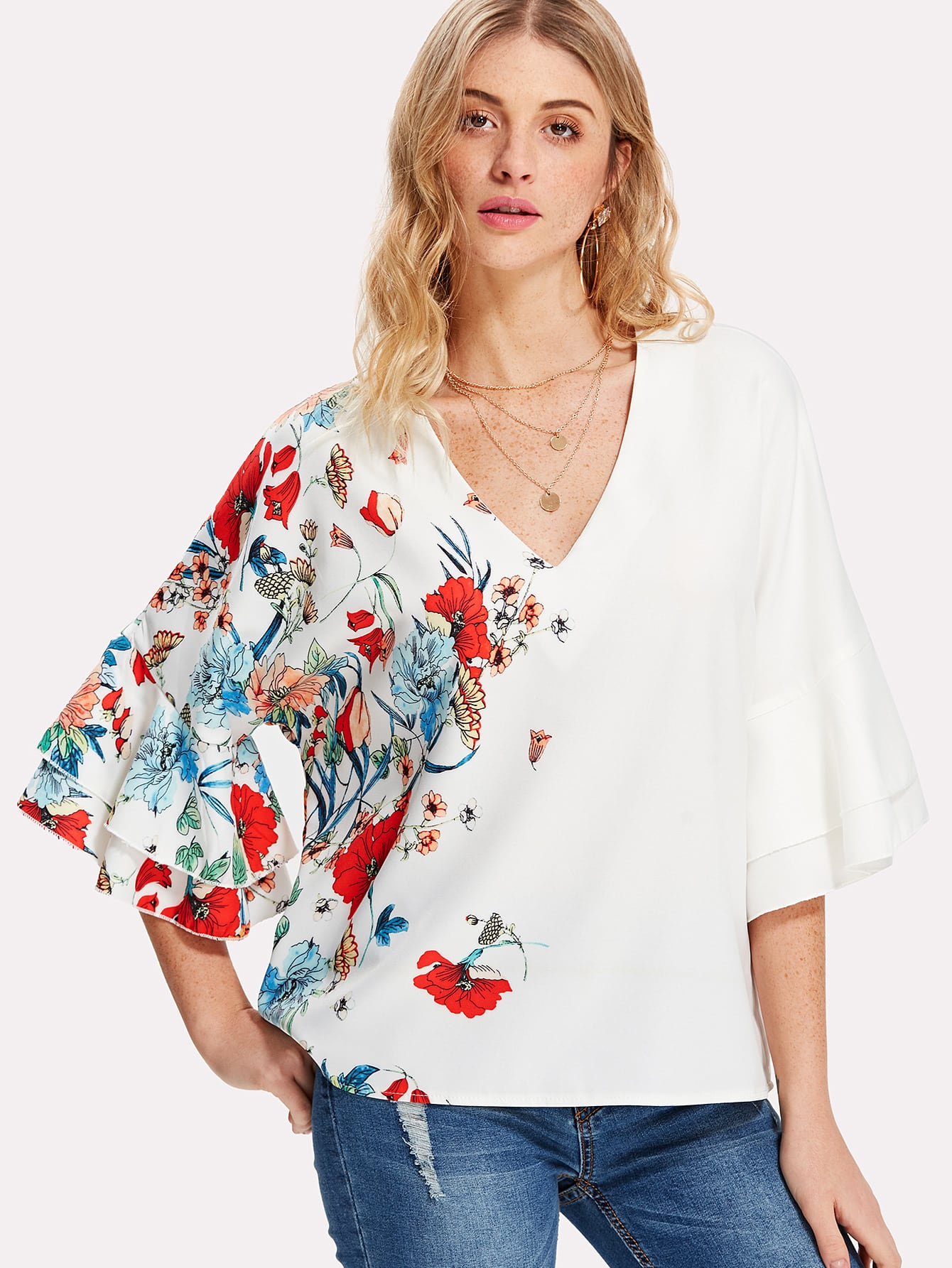 Layered Trumpet Sleeve Botanical Top trumpet sleeve botanical print dress