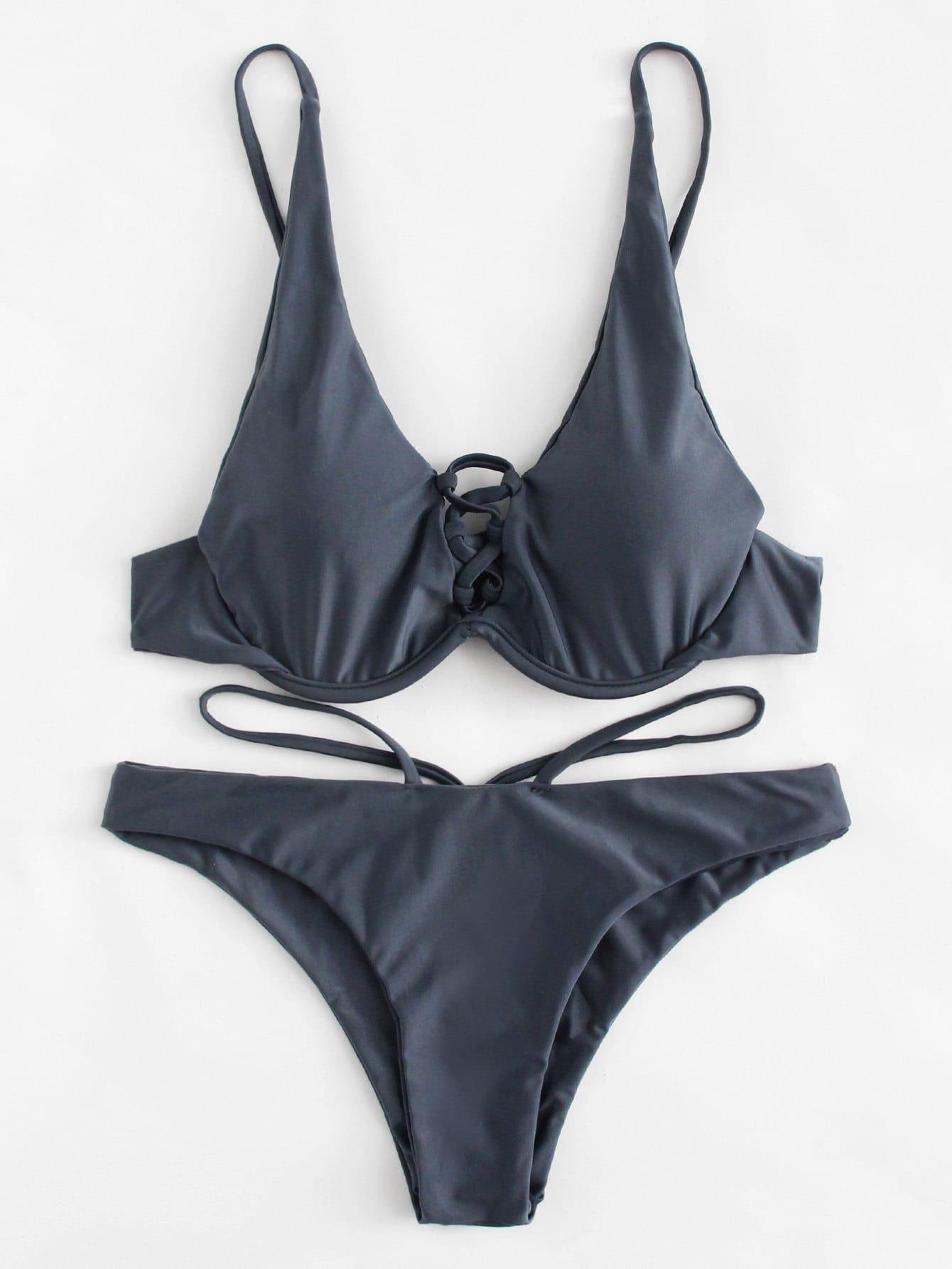 Criss Cross Bikini Set padded criss cross bikini set