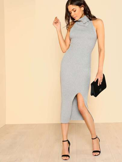 Ribbed Halter Turtleneck Dress GREY