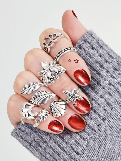 Seashell Starfish Vintage Ring Seven Piece Set