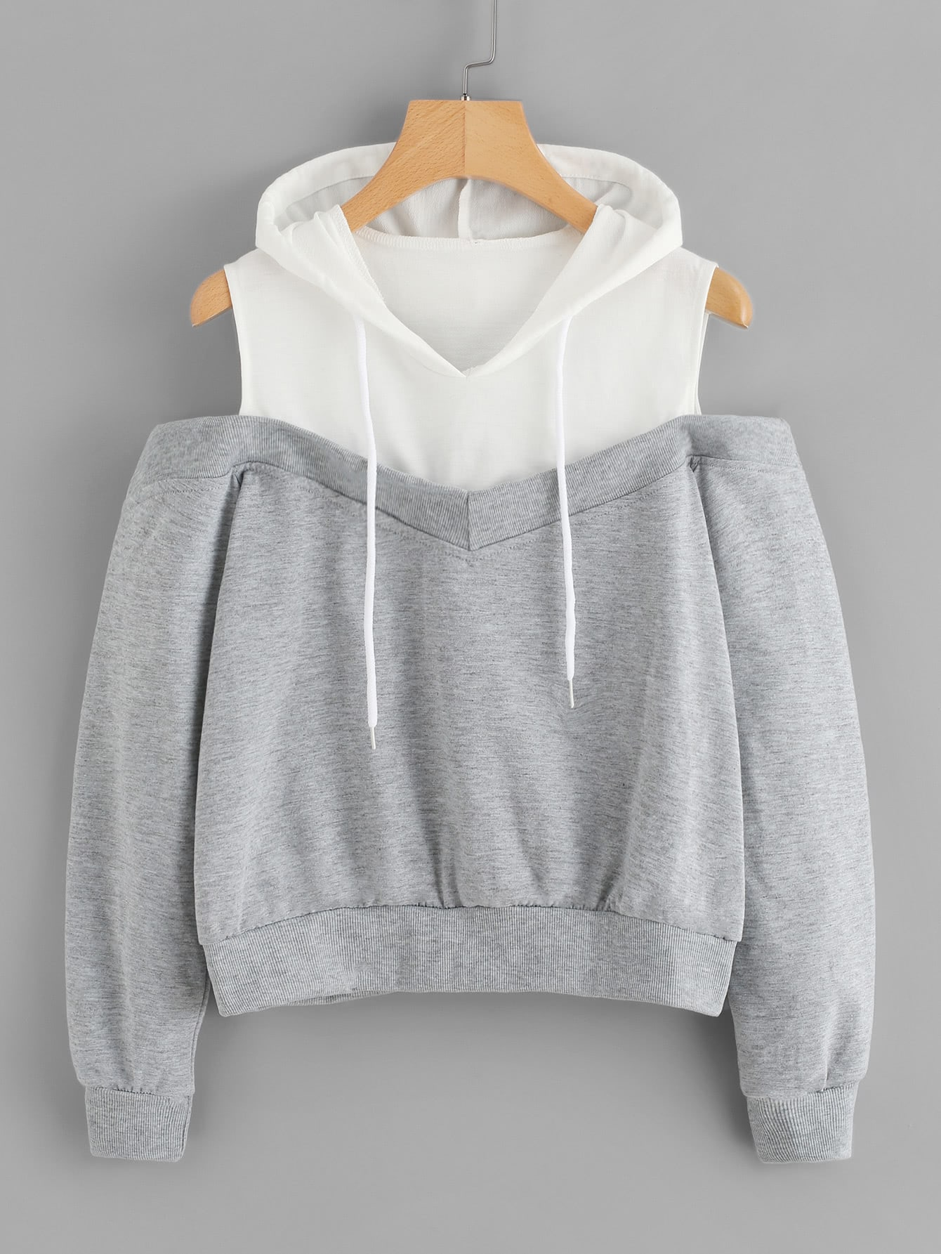 Cold Shoulder Color Block Hoodie