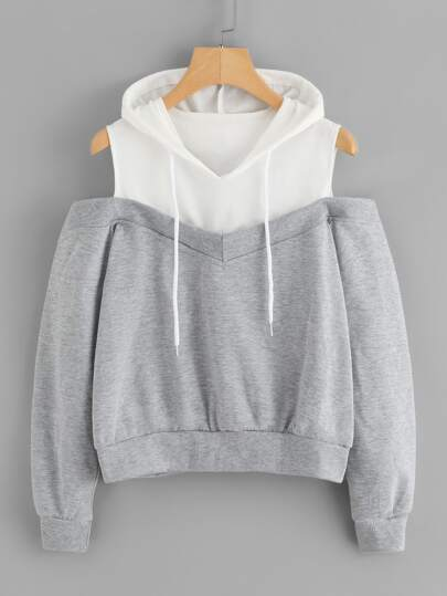 Cold Shoulder Color Block Hoodie