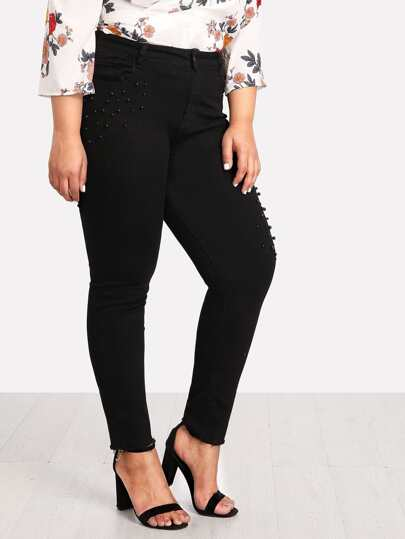 Beaded Detail Tapered Jeans