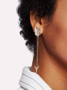 Rhinestone Arrow Design Drop Earrings 1pair