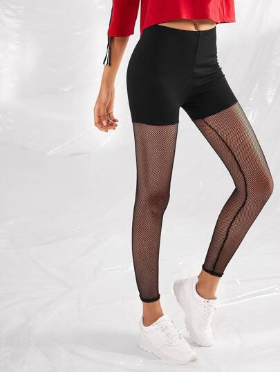 Fishnet Mesh Panel Leggings