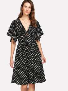 Cut Out Knot Front Polka Dot Dress
