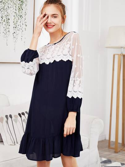 Contrast Embroidered Mesh Shoulder Ruffle Nightdress
