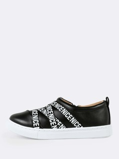 Slogan Strappy Sneakers BLACK