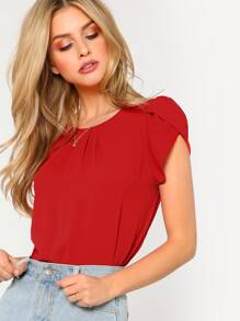 Gathered Neck Petal Sleeve Top