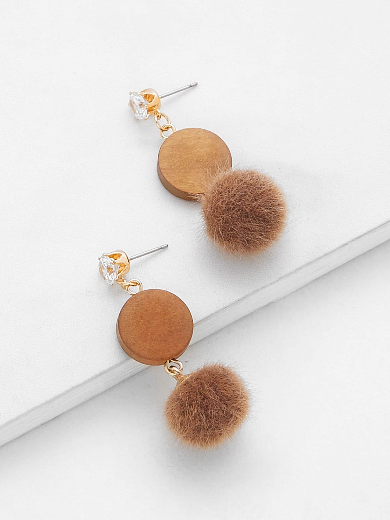 Rhinestone Top Pom Pom Decorated Drop Earrings pom pom drop earrings