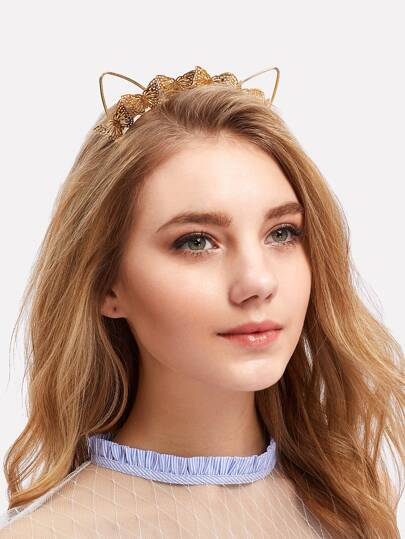 Metal Butterfly & Cat Ear Decorated Headband