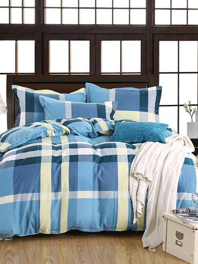 2.2m Checked Pattern Duvet Cover Set