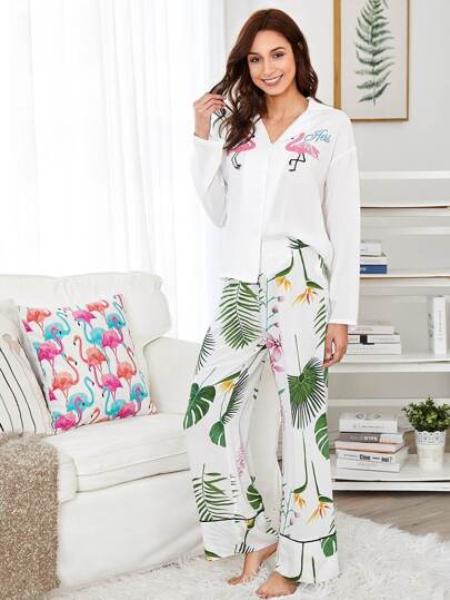 Revere Collar Blouse & Tipping Detail Pants PJ Set