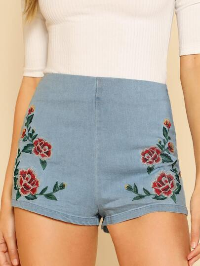 Flower Embroidered Denim Shorts with Zip Back LIGHT INDIGO