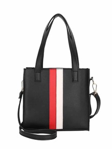 Striped Detail Tote Bag