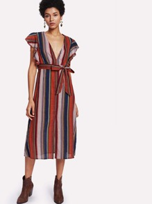Self Belt Deep V Neck Striped Dress