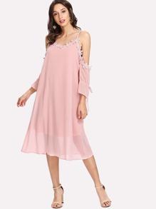 Contrast Lace Tie Detail Chiffon Dress