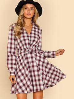 Belted Surplice Wrap Plaid Dress