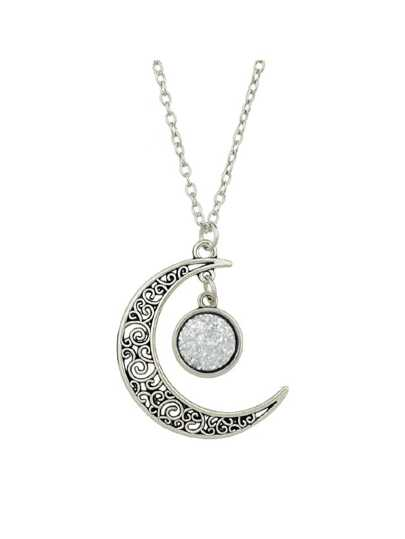White Hollow Moon Full Of Stars Necklace