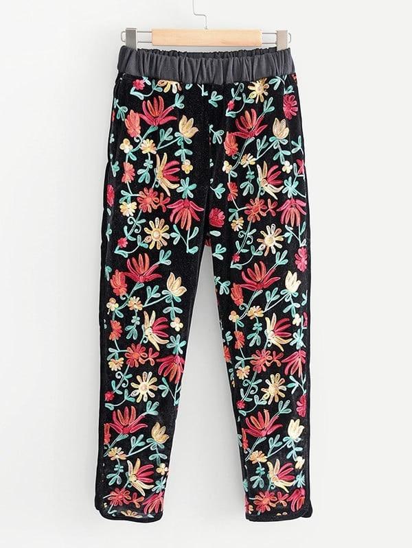 Image of Flower Embroidery Velvet Pants