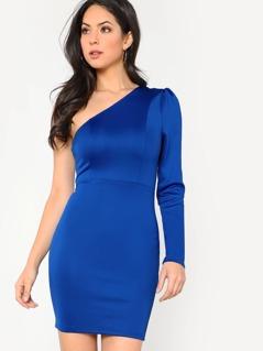 One Shoulder Form Fitting Dress
