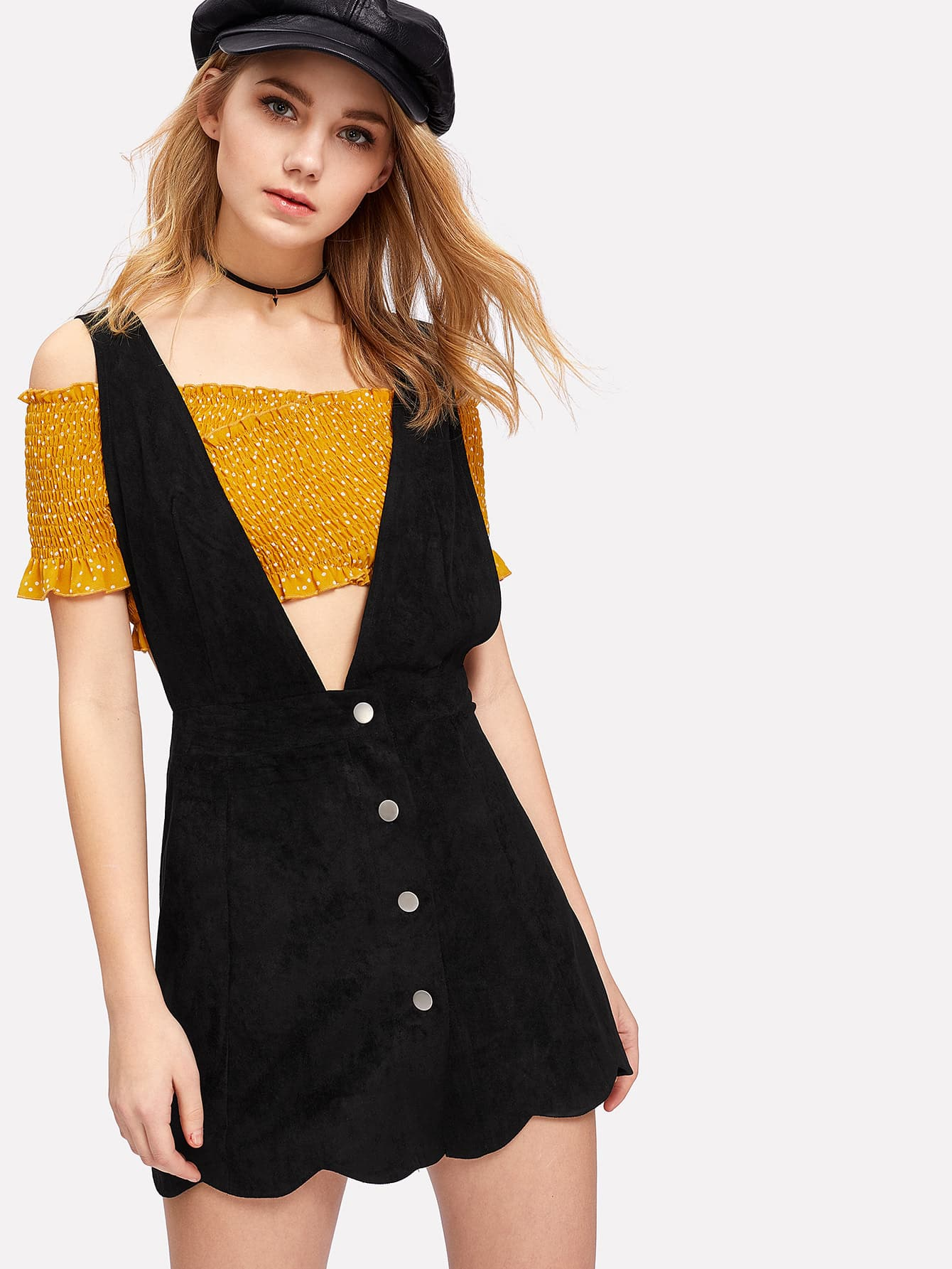 Suede Scallop Hem Overall Dress overall yumi overall