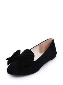 Bow Decorated Round Toe Flats