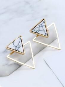 Double Triangle Design Stud Earrings