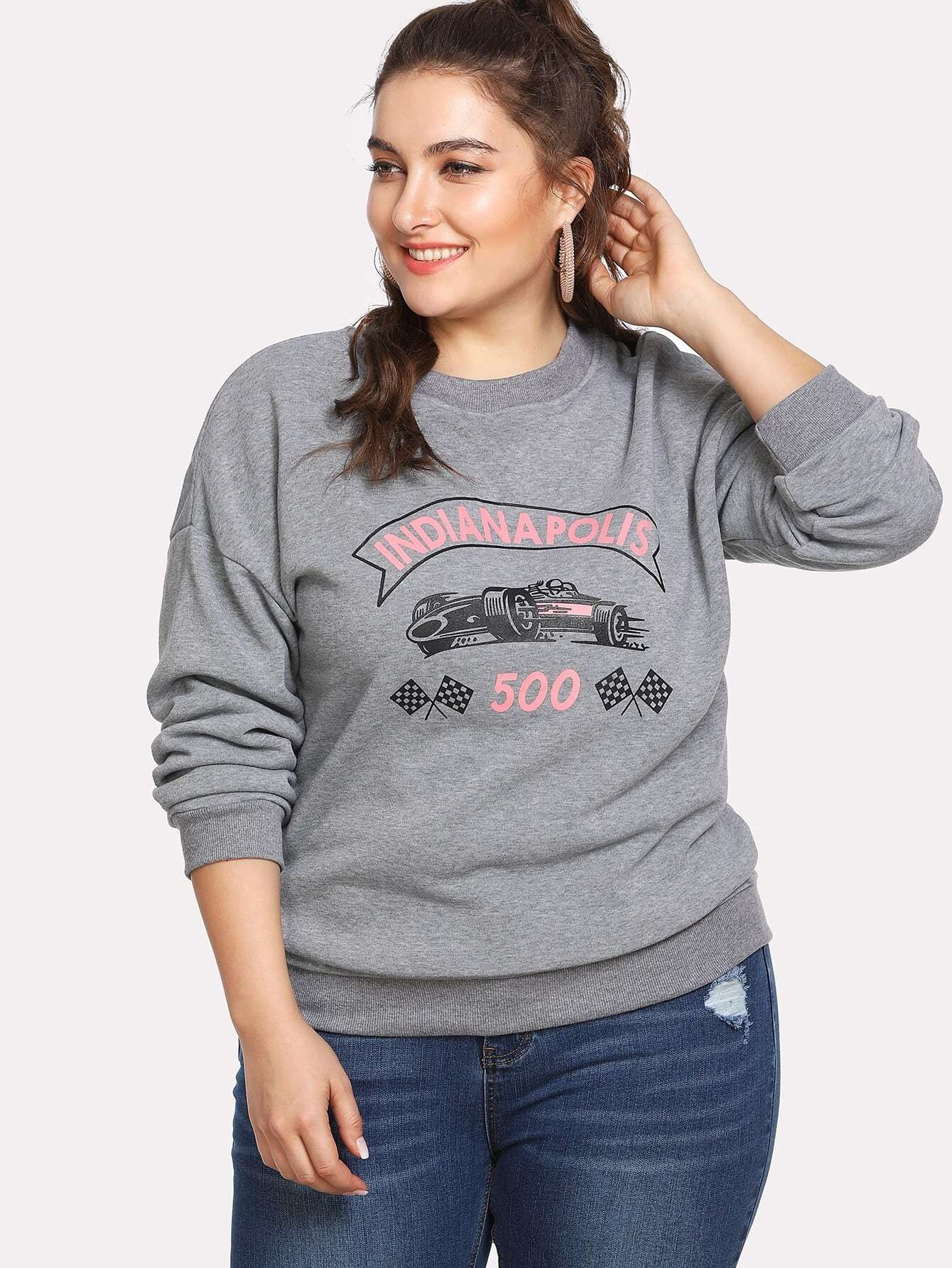 Graphic Print Marled Pullover rabbit print pullover