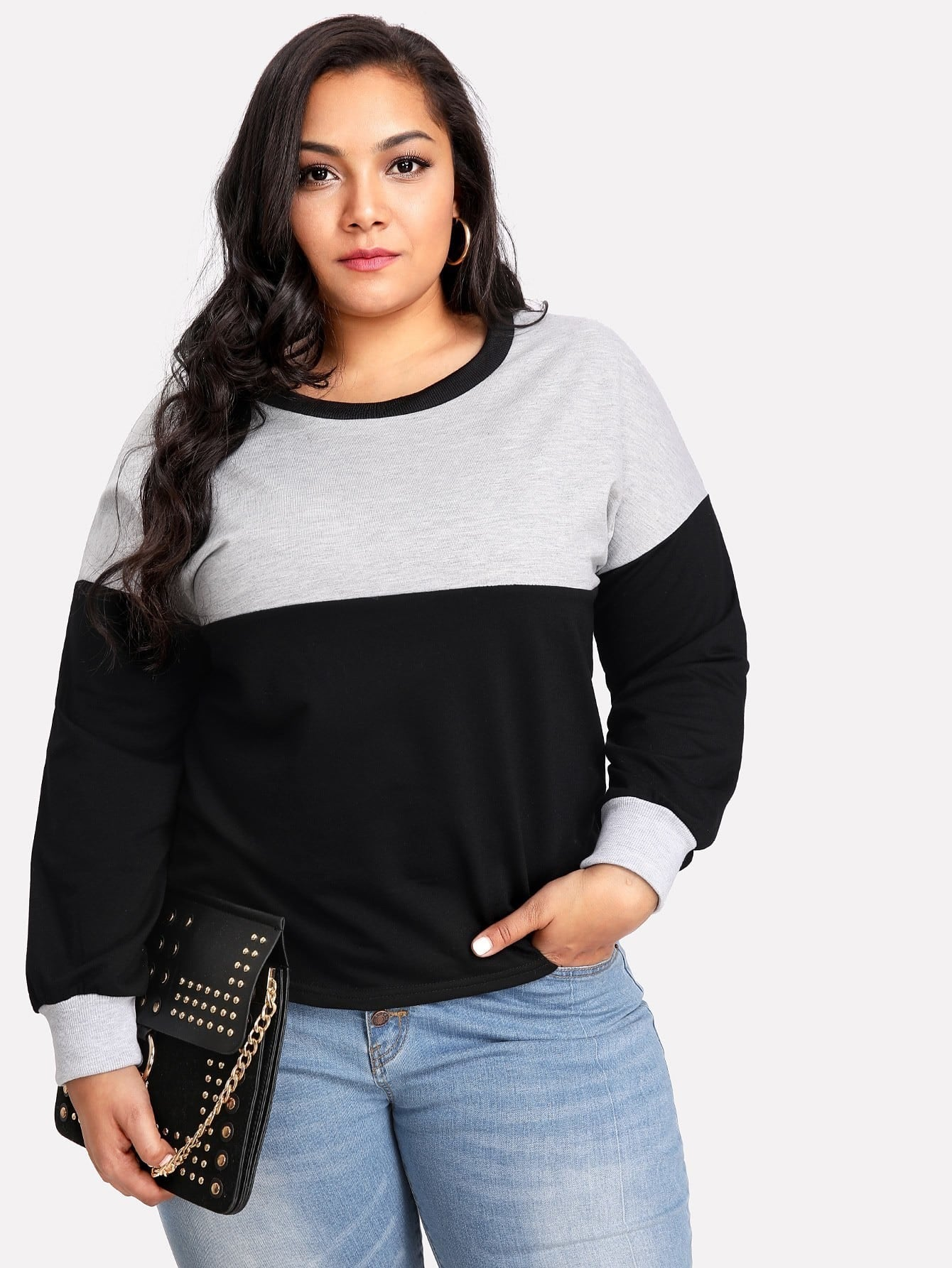 Two Tone Drop Shoulder Sweatshirt drop shoulder crop sweatshirt