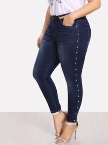 Pearl Detail Bleach Wash Jeans